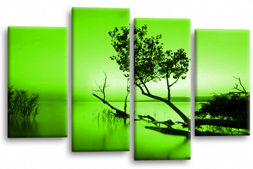 Sunset Landscape Wall Art Picture Green Cream Canvas Split Panel